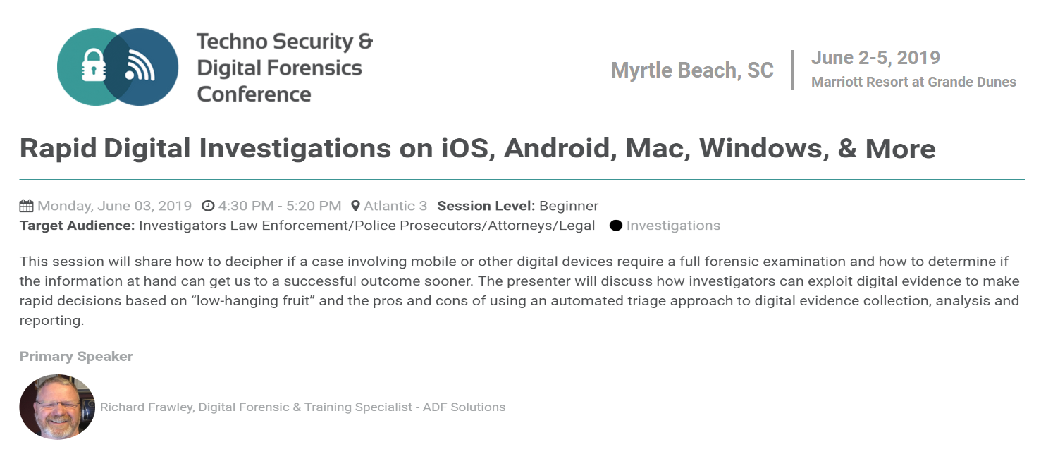 ADF Digital Forensics Techno Security 2019 Myrtle Beach