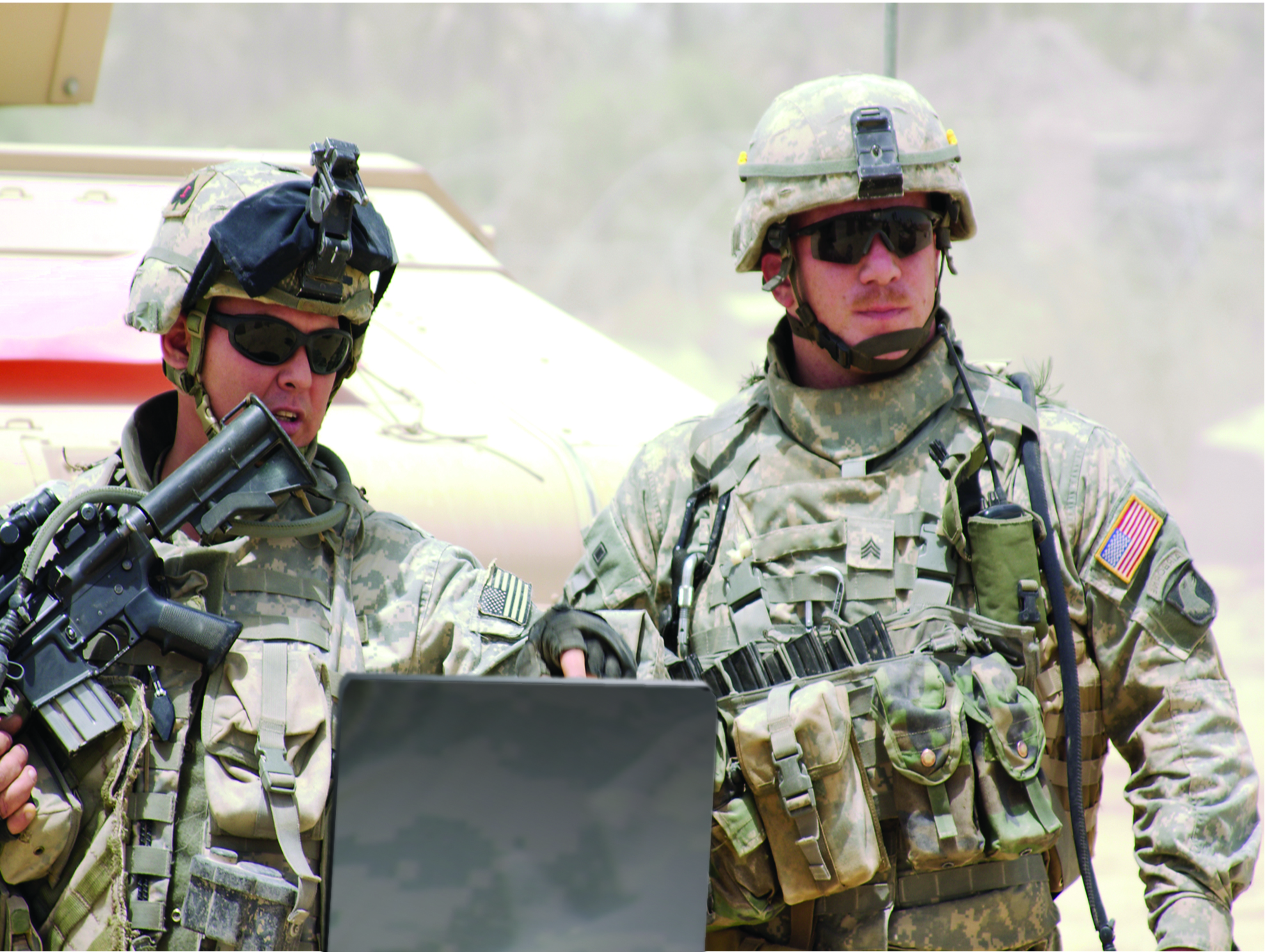 Special Forces performing digital forensics on computer