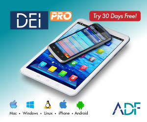 tablet and mobile phone with advertisement for DEI PRO digital forensic software