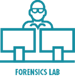 Icon - Forensic lab investigator with two computers