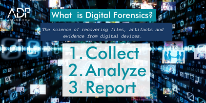 What is Digital Forensics - brief description with digital data blurred behind text