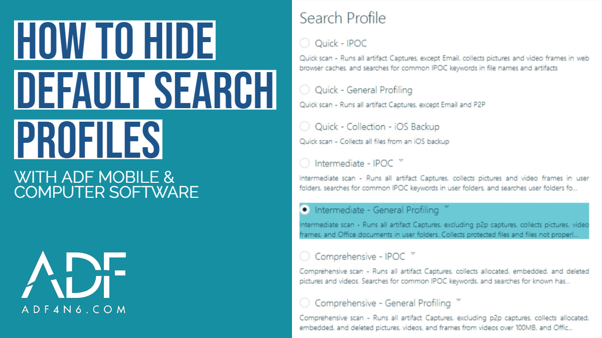 How to Hide Default Search Profiles in ADF Digital Forensic Software